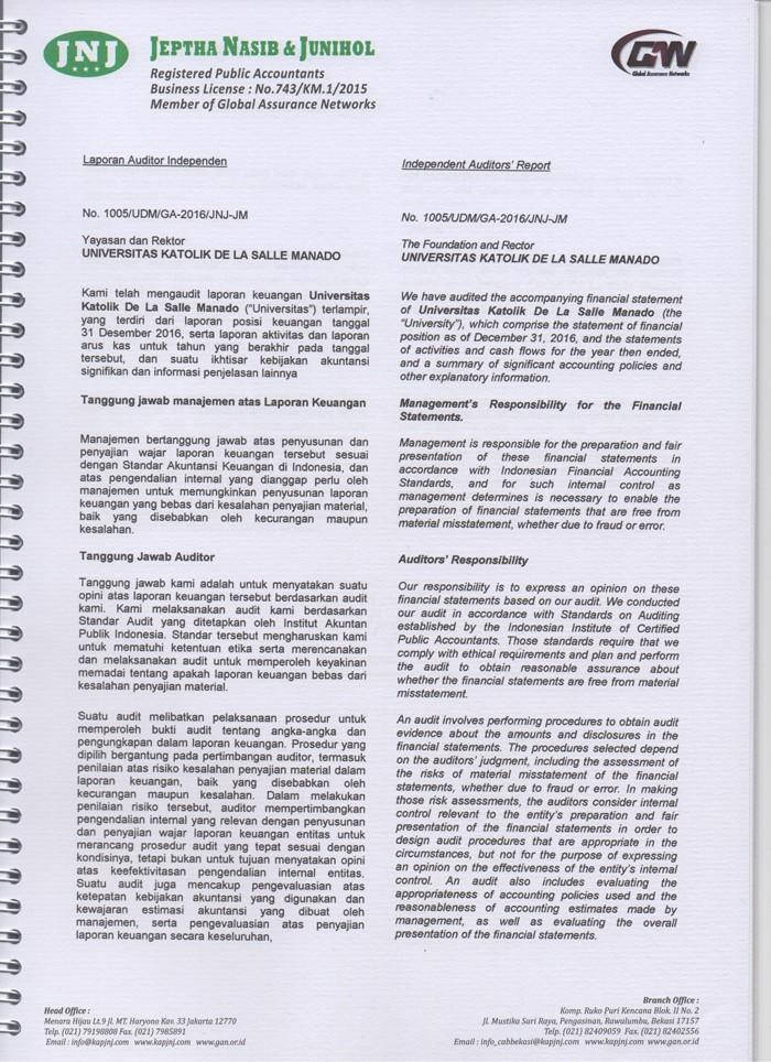 Hasil Laporan Auditor Independen Atas Laporan Keuangan Unika De La Salle Manado Tahun 2016 Unika De La Salle Manado